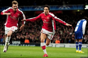 Samir Nasri celebrates his wonder goal